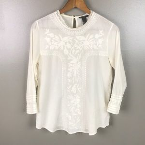 H&M White Embroidered long Sleeve Semi Sheer Top